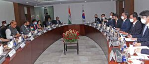 Raksha Mantri Rajnath Singh and Minister of Defence of Republic of Korea Suh Wook during bilateral talks on Defence Cooperation in New Delhi on Friday, 26 March 2021